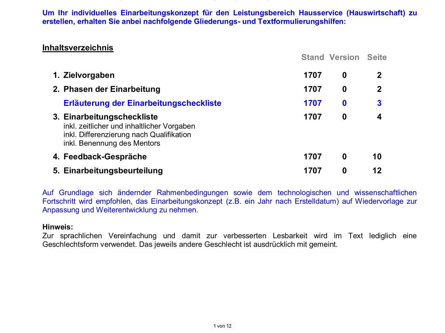"""Einarbeitungskonzept """"Hauswirtschaft"""" Unterkunft und Versorgung    Microsoft Word®"""