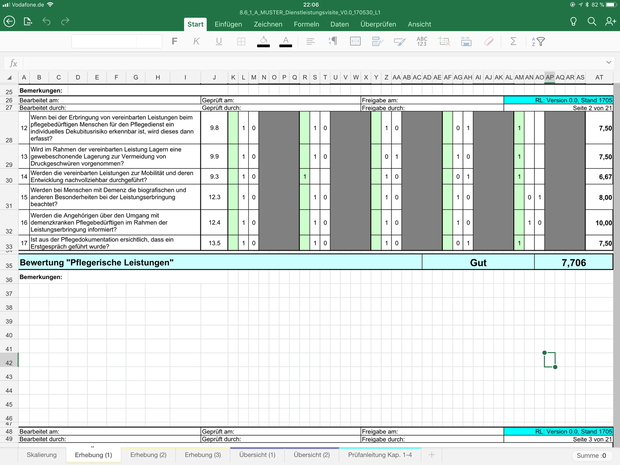 dienstleistungsvisite inkl muster microsoft excel - Pflegedokumentation Muster