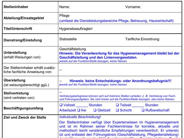 Stellenbeschreibung Hygienebeauftragte/r - Microsoft Word® - Shop ...